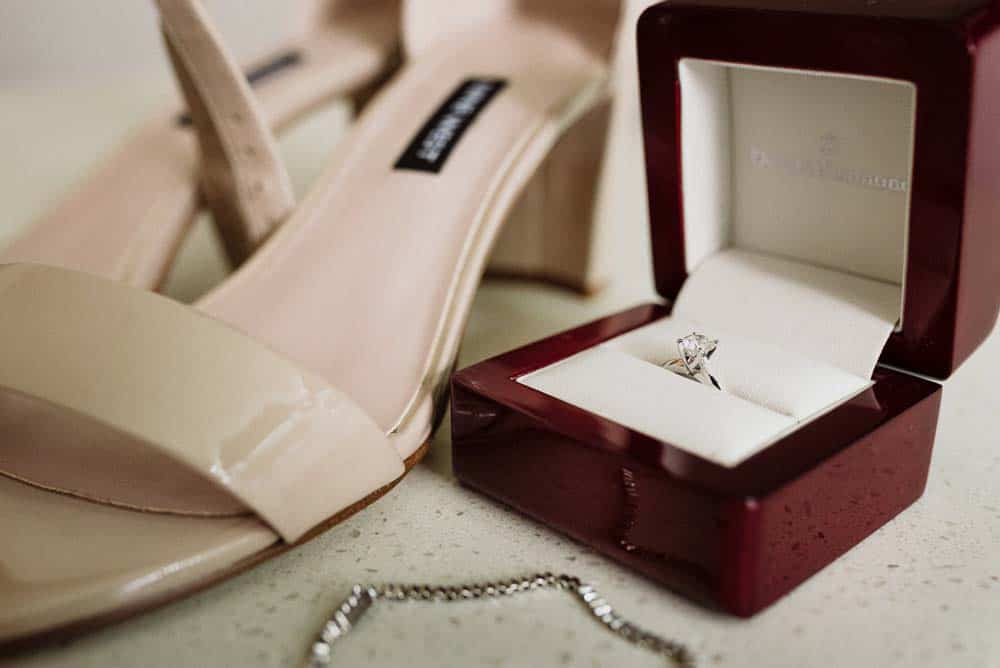 Brides wedding ring, shoes, and jewelry detail shots captured by hunter valley wedding photographer james white