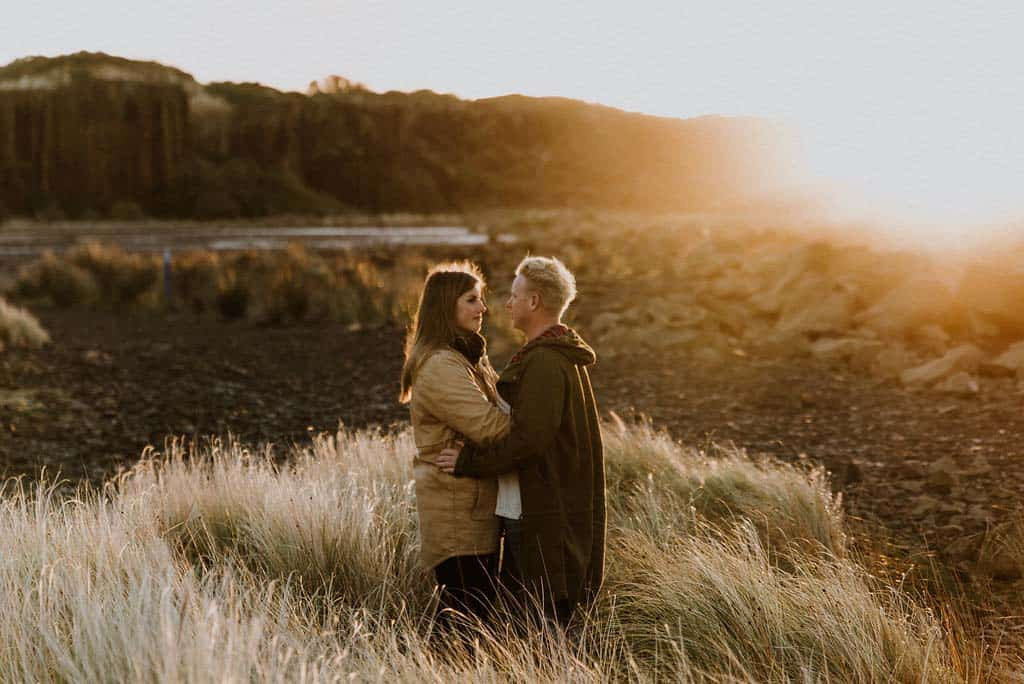 Bride and groom share a moment together at sunrise captured by James White hunter valley wedding photographer