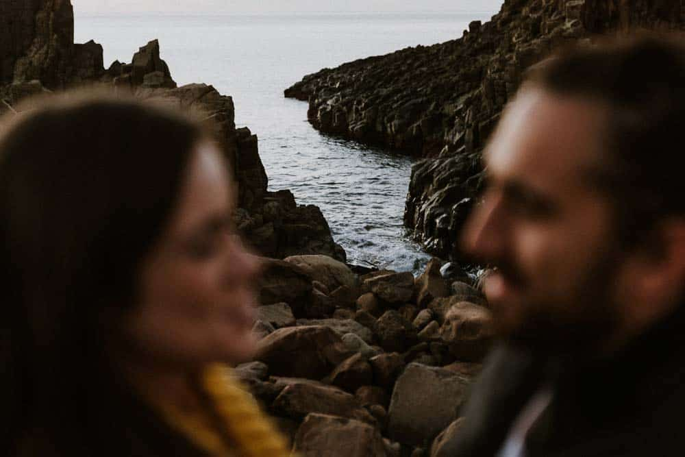 bride and groom stare into each others eyes Bombo Quarry captured by james white hunter valley wedding photographer