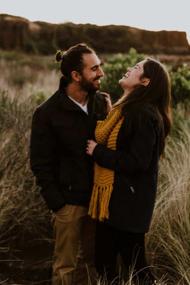 bombo quarry bride and groom laughing captured by james white hunter valley wedding photographer