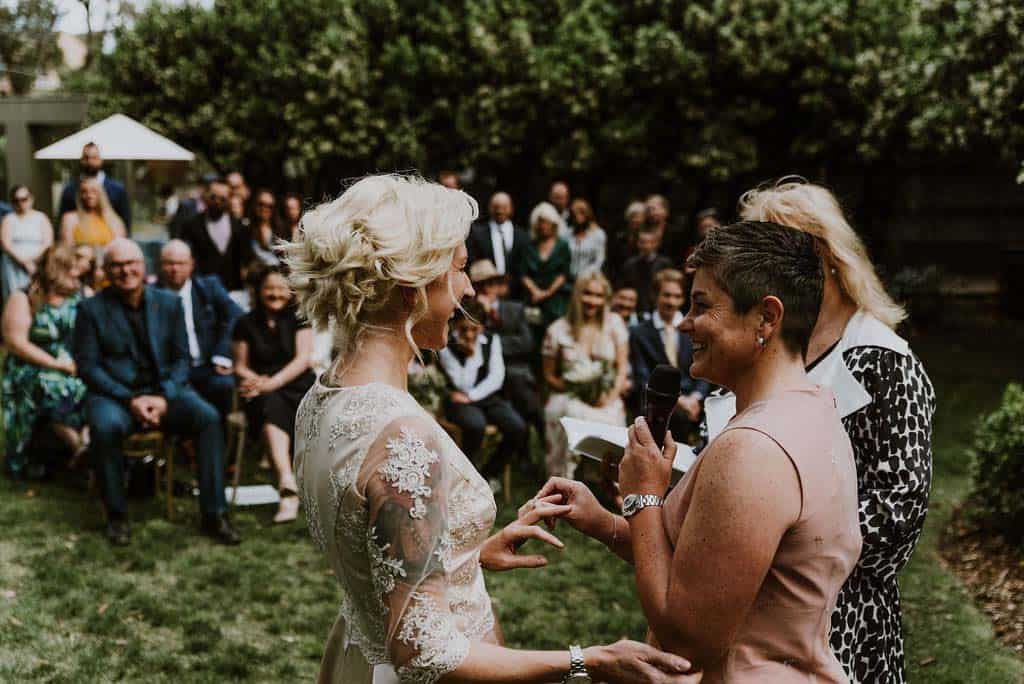 two brides exchange vows in outdoor wedding ceremony captured by james white hunter valley wedding photographer