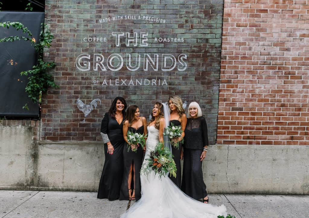 Beautiful Bride and bridesmaids in urban setting captured by james white hunter valley wedding photography