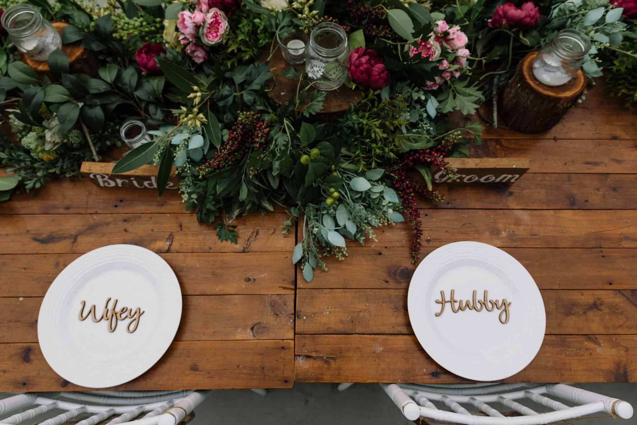 Bridal table styling with wooden place names and florals Captured by James White Hunter Valley Wedding Photographer