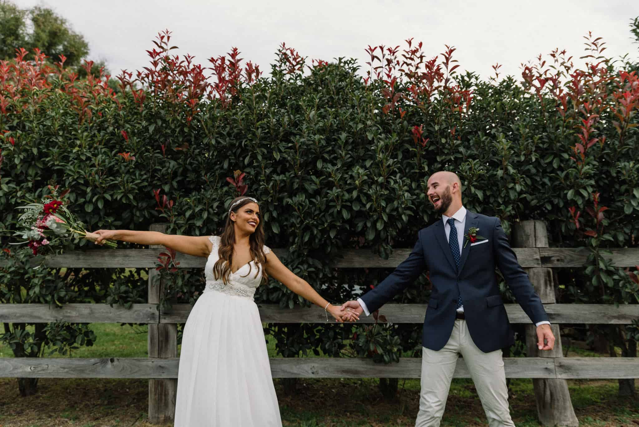 Bride and groom dance under trees Captured by James White Hunter Valley Wedding Photographer