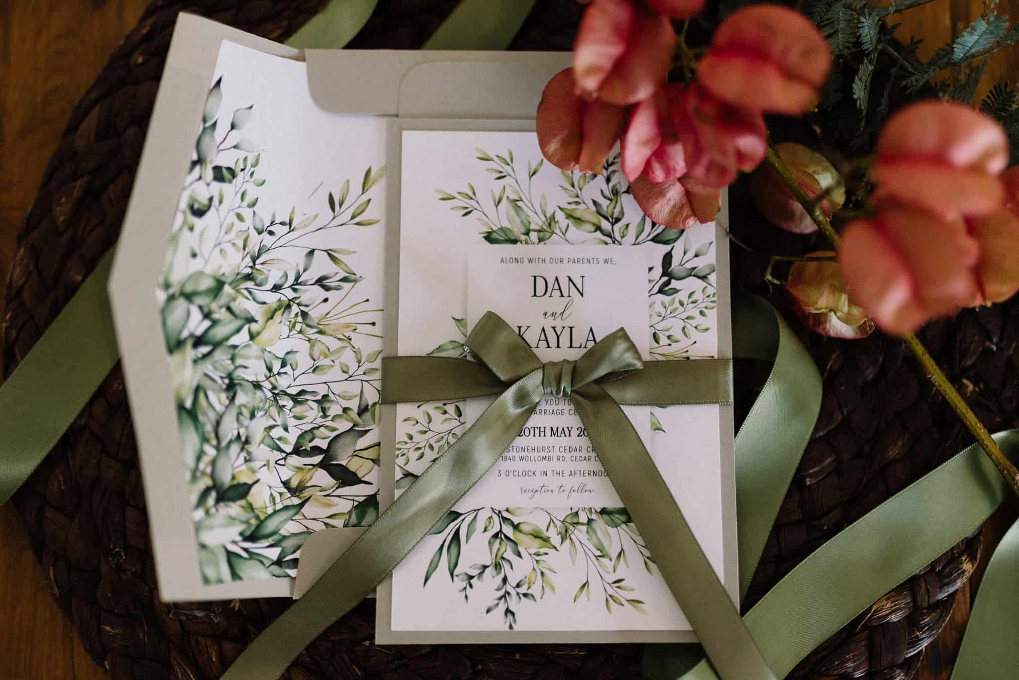 invations and stationary on tables at stonehurst cedar creek james white hunter valley wedding photographer