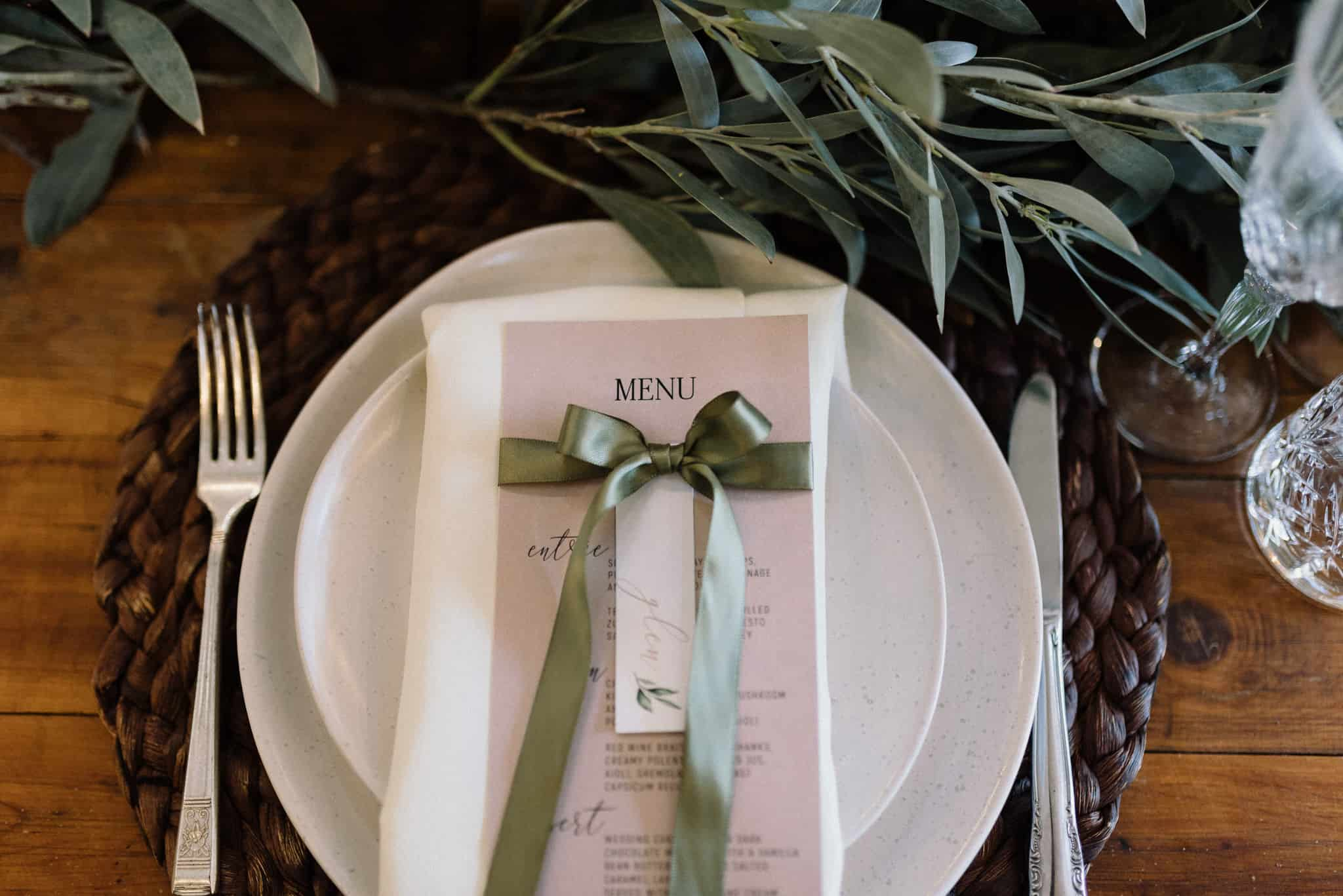place settings with beautiful menu cards by Sajaro at Stonehurst cedar creek james white hunter valley wedding photographer