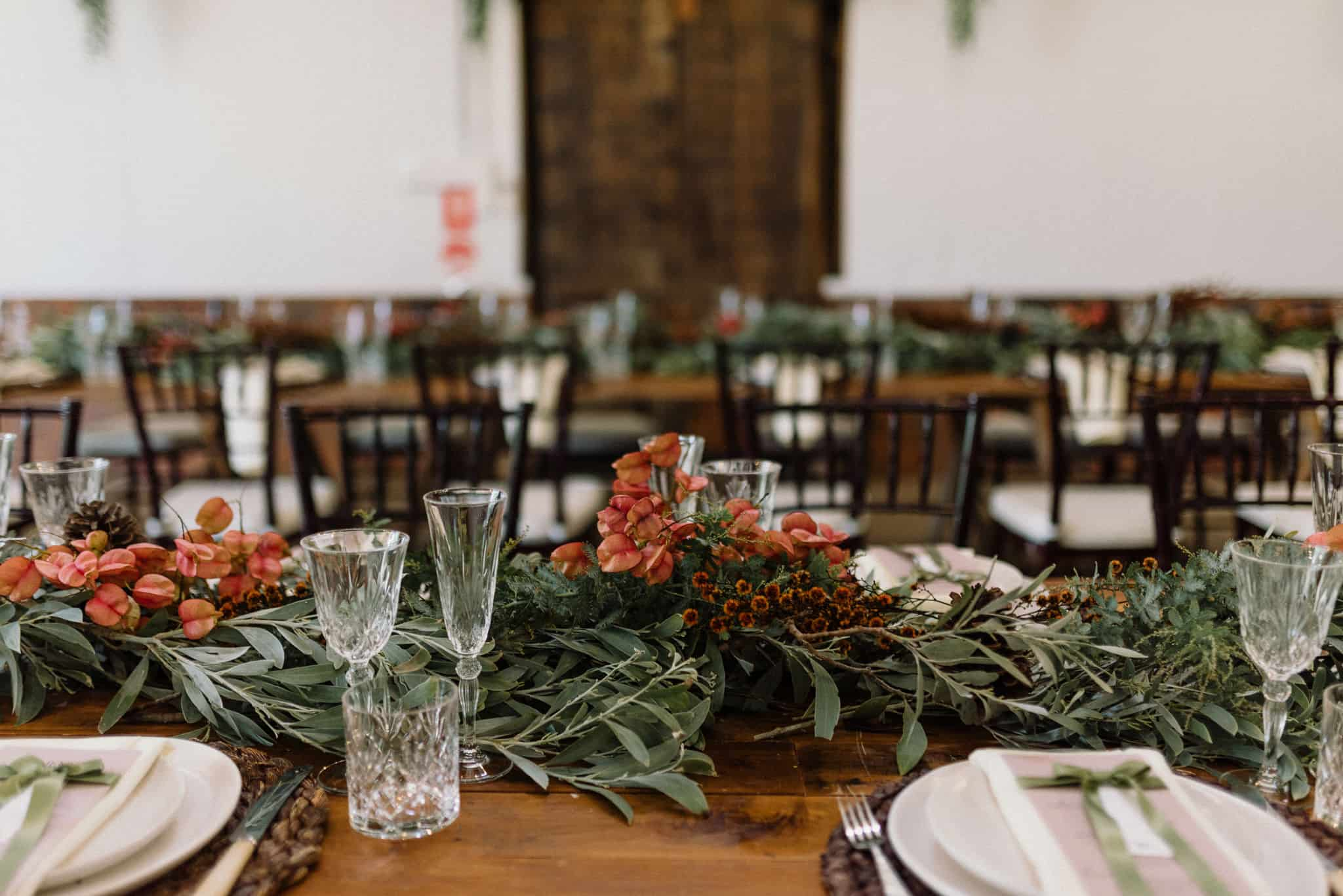 gorgeous greenery on table at stonehurst cedar creek captured by james white hunter valley wedding photographer