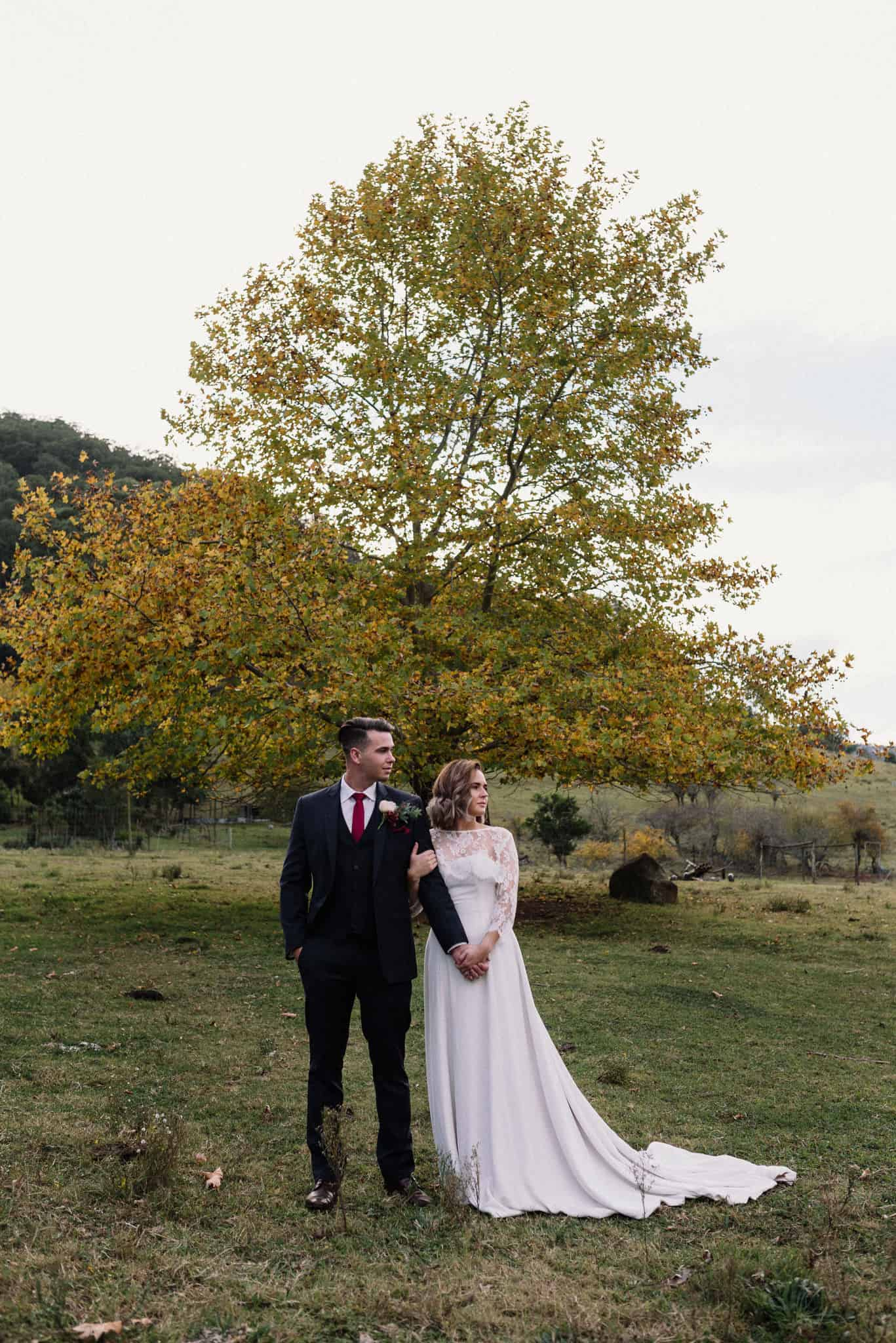 bride and groom standing in field at stonehurst cedar creek, with beautiful autumn tree behind them james white hunter valley wedding photographer