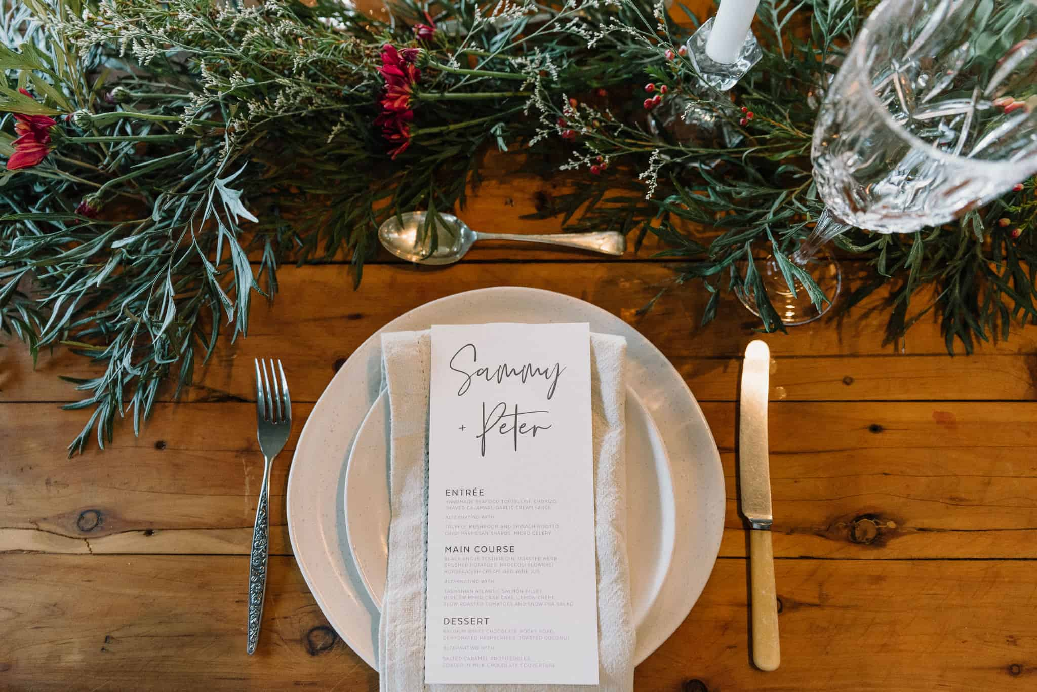 Wedding details personalised dinner menu and place setting at Estate Tuscany Captured by James White Hunter Valley Wedding Photographer