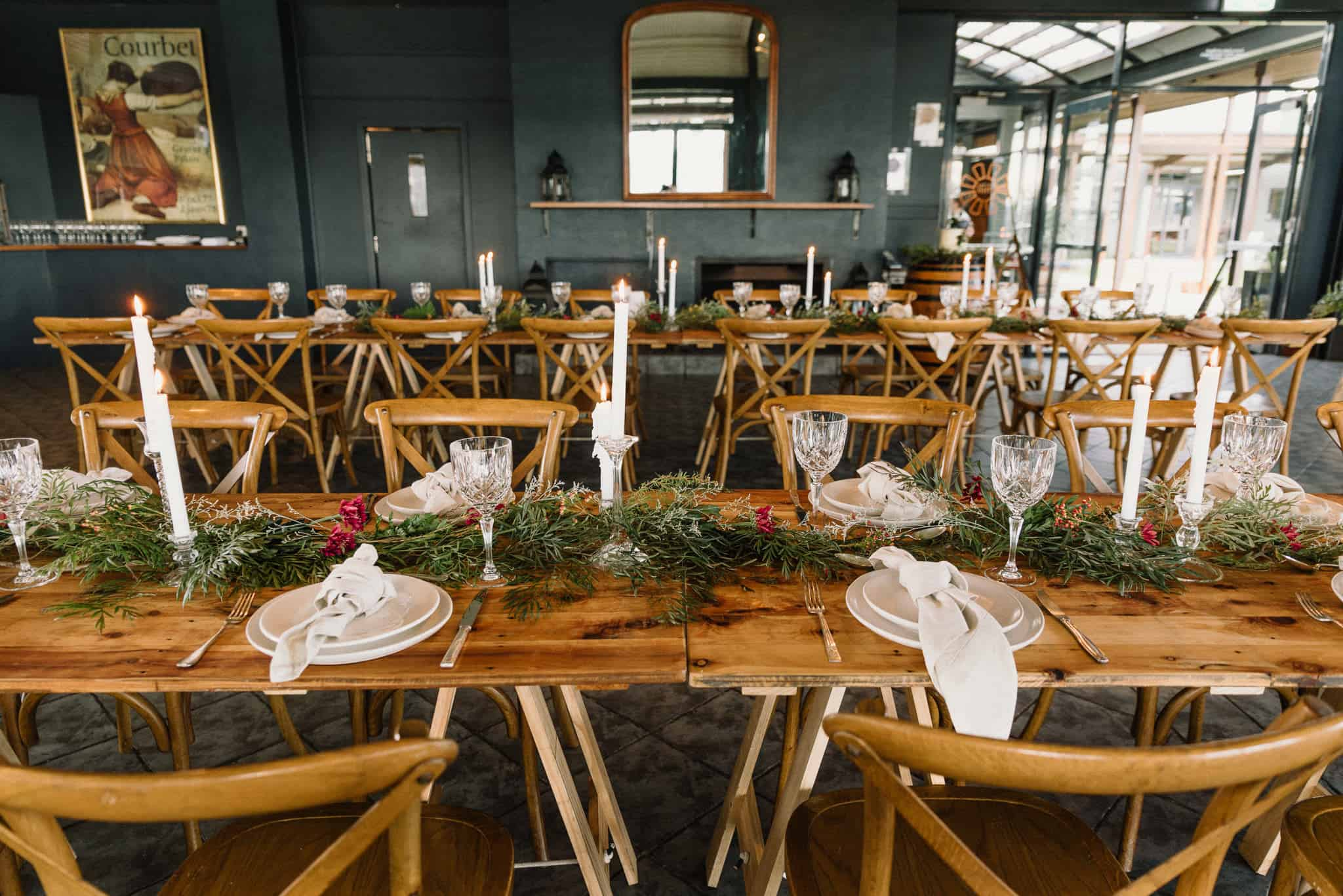 Rustic wedding reception in the mill restaurant at Estate Tuscany Captured by James White Hunter Valley Wedding Photographer