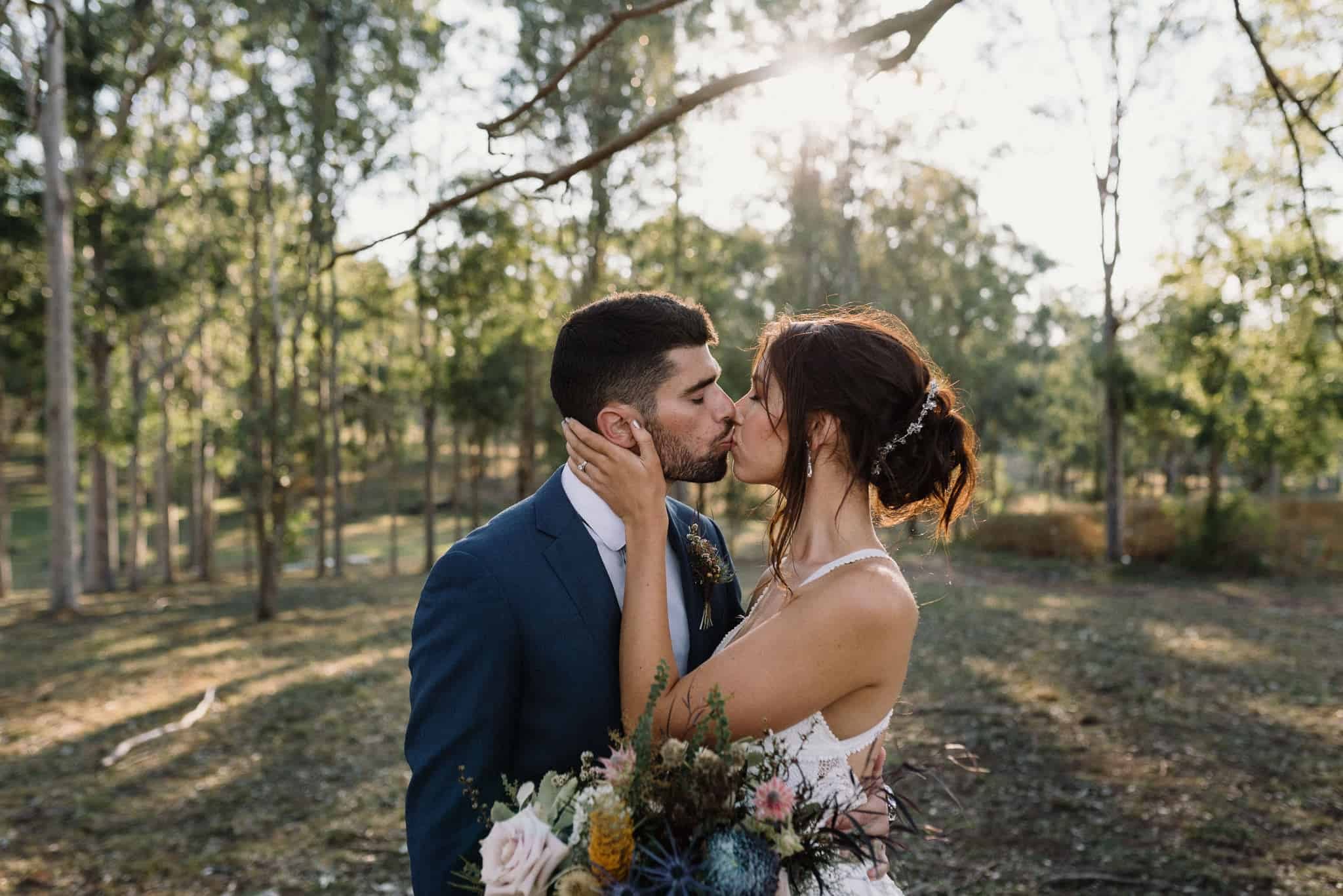 Bride and groom portrait in the grounds at Estate Tuscany Captured by James White Hunter Valley Wedding Photographer