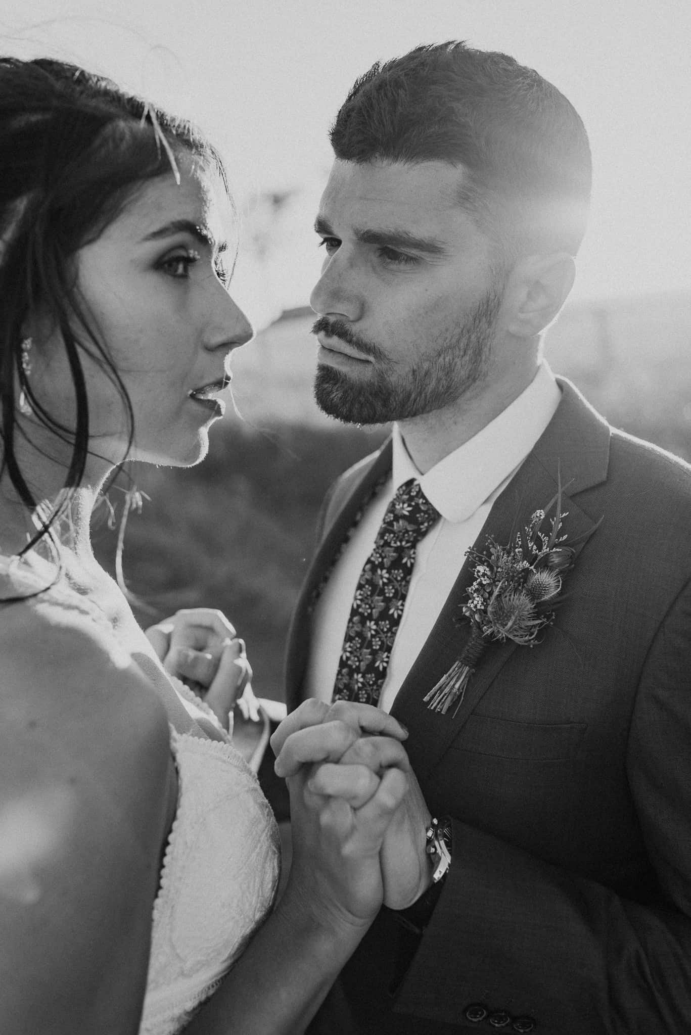 Groom stares lovingly at bride during Estate Tuscany wedding Captured by James White Hunter Valley Wedding Photographer