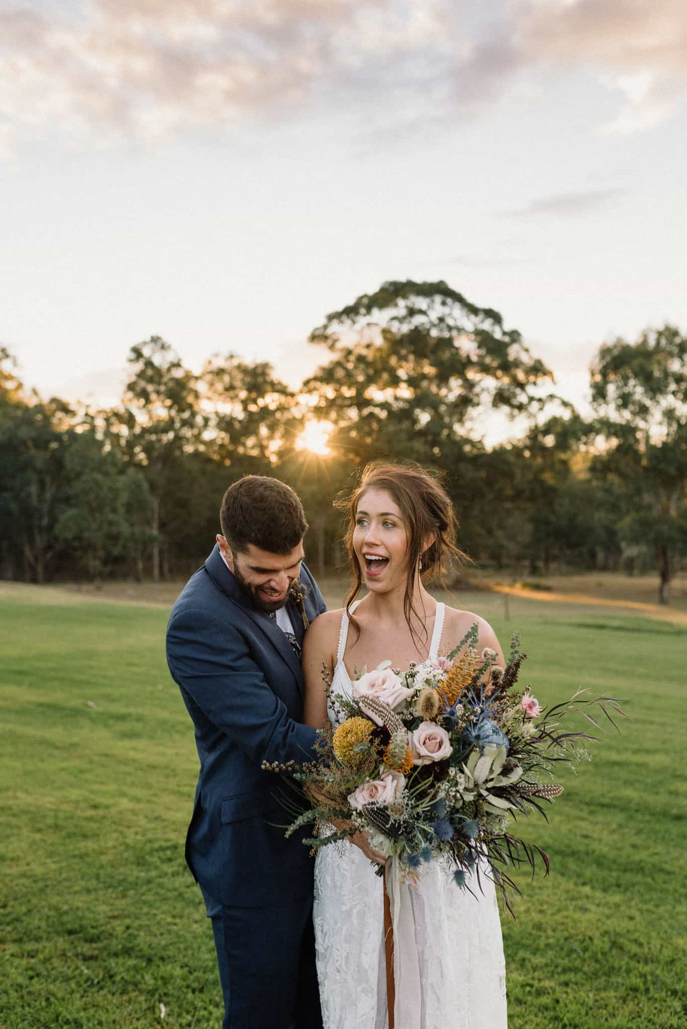 Golden hour at Estate Tuscany with newlywed couple Captured by James White Hunter Valley Wedding Photographer