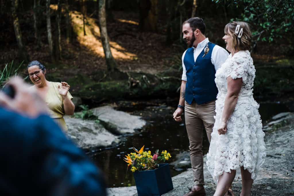 bride and groom getting married at Glenrock captured by james white newcastle wedding photographer