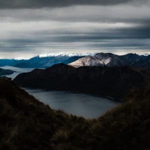 View of Lake Wanaka and Mountains surrounding from on top Corromandel Peak