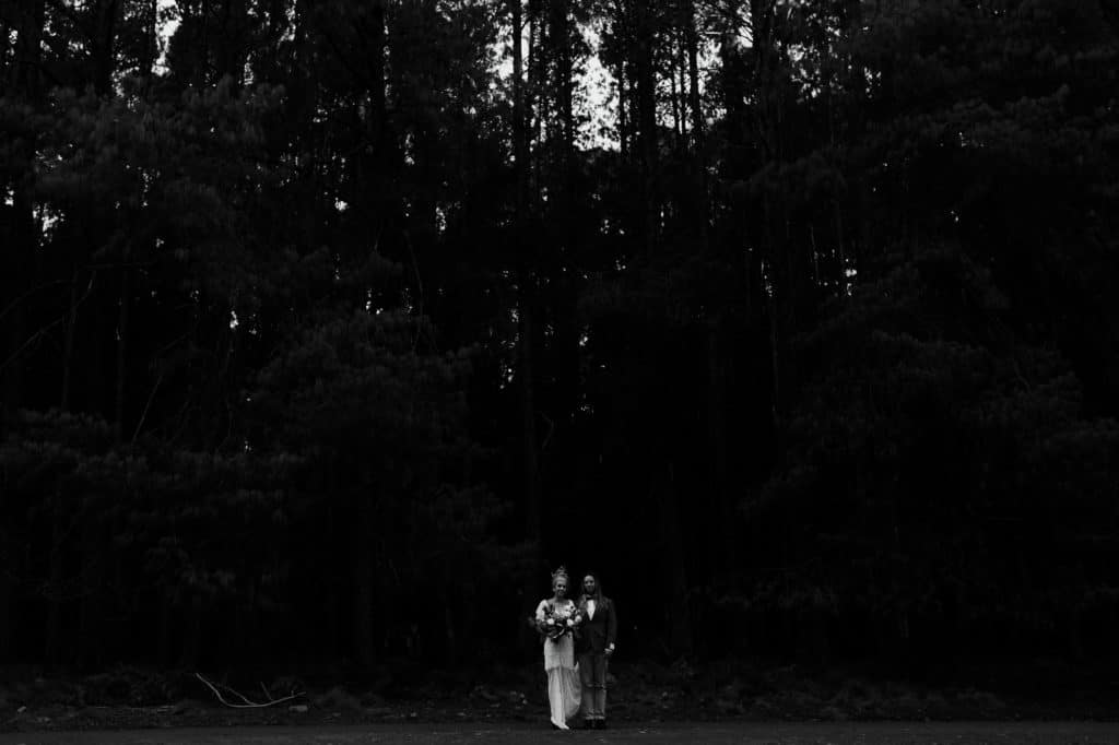 Bride and groom don't do wedding traditions and get married in a forest