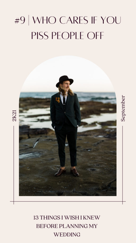 When planning a wedding it doesnt matter if you upset people. Photo of groom in green velvet suit and wide brim hat standing on rock shelf at newcastle baths