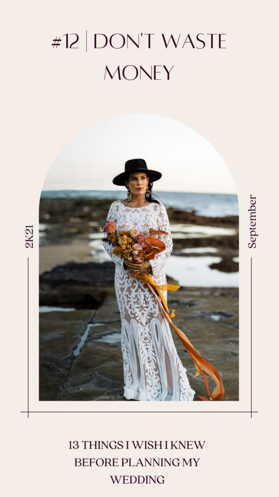 when planning a wedding, don't just waste money. Photo of stunning boho bride in lace wedding dress standing on rock platform in ocean