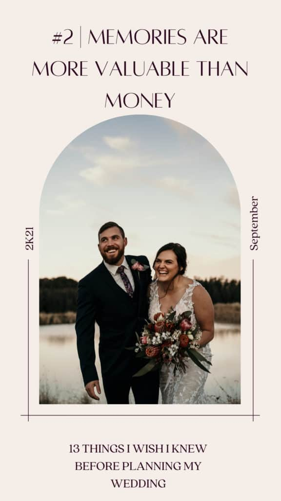 Bride and groom standing in front of a soft lake at gorgeous sunset in Australia. Bride is laughing in intimate embrace with groom.