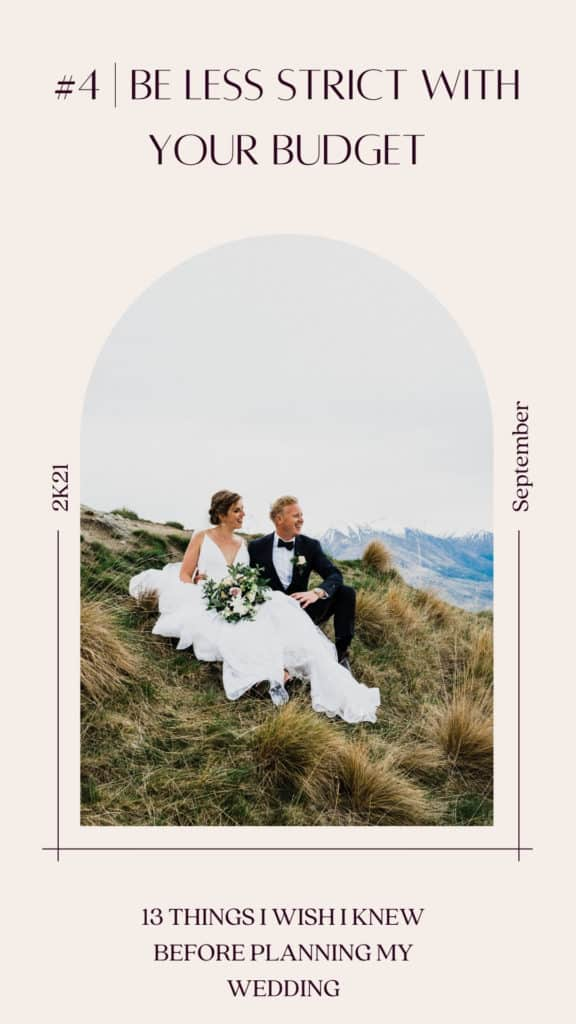 When planning a wedding be less strict on budget. Photo of bride and groom sitting on top of Coromandel peak in New Zealand having a picnic at sunset